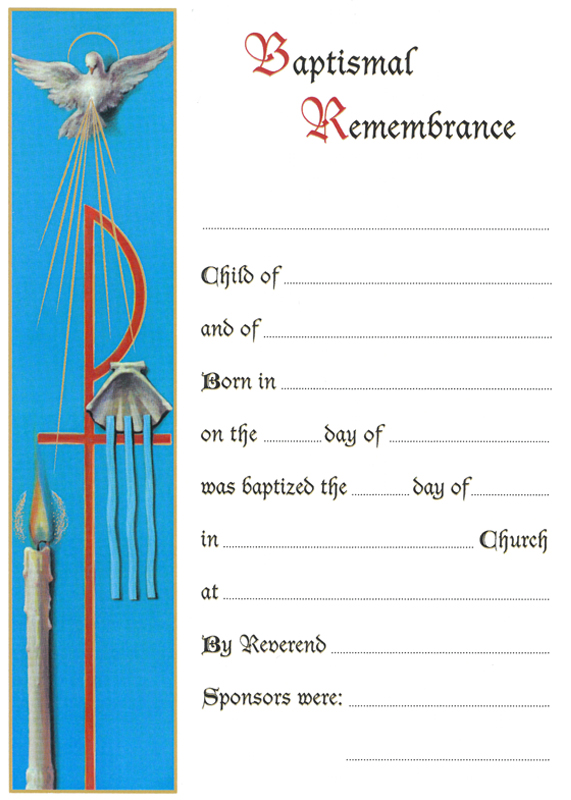 Certificate Baptismal Remembrance  Baptism Certificates