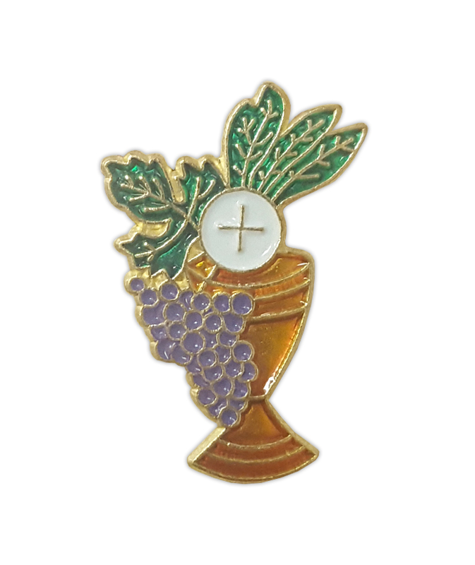 Lapel Pin Grapes Host Chalice First Holy Communion