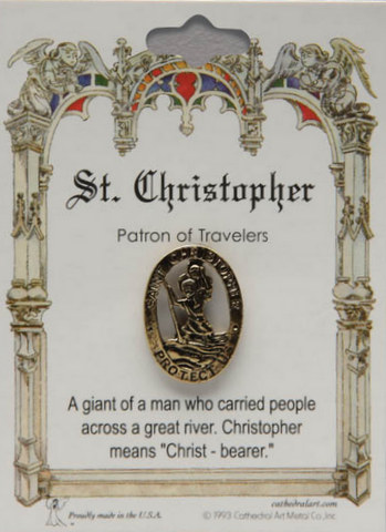 pin patron st christopher lapel pins general pleroma christian supplies. Black Bedroom Furniture Sets. Home Design Ideas