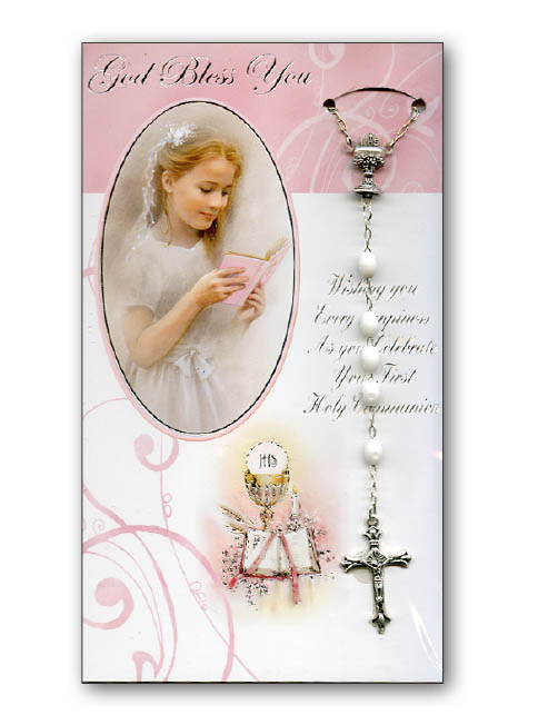 Card First Holy Communion With White Rosary Girl