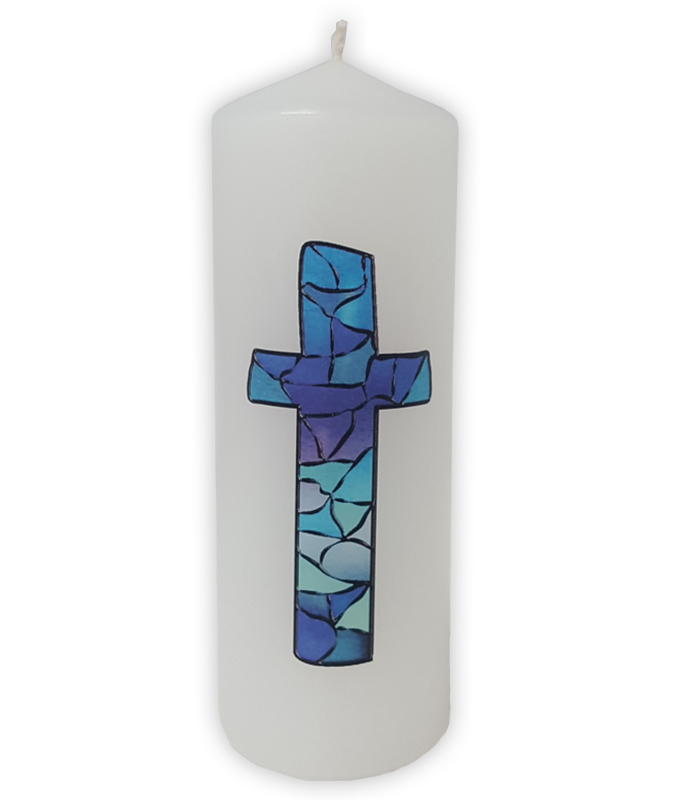 Candle Blue Stained Glass Cross Candles General Pleroma