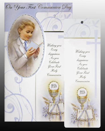 Card First Holy Communion Boy With Bookmark First Holy Communion