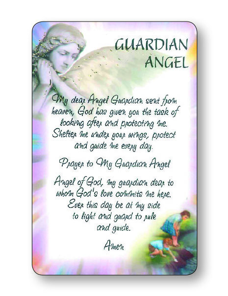 Prayer Card Laminated Guardian Angel Prayer Cards Pleroma